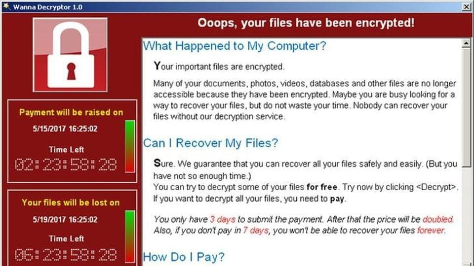 A screenshot shows a WannaCry ransomware demand, provided by cyber security firm Symantec, in Mountain View, California on May 15.