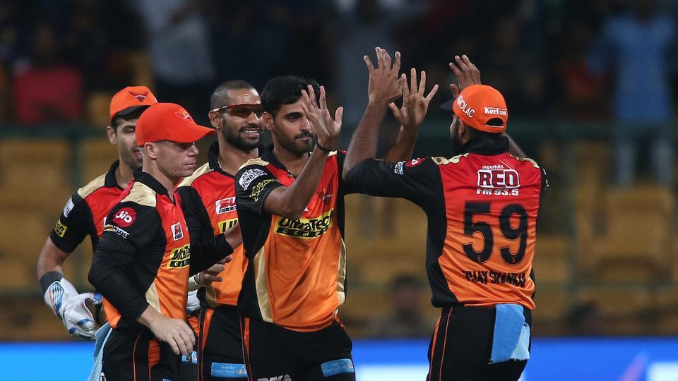 Bhuvneshwar Kumar gave SRH the early wicket of Chris Lynn, before sending Yusuf Pathan back to the pavillion with a run out dismissal. (BCCI)