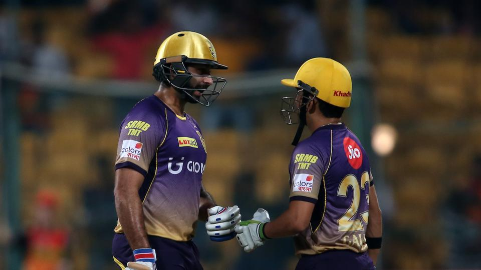 Kolkata Knight Riders captain Gautam Gambhir (R) helped the team see out a 7-wicket win over Sunrisers Hyderabad in the IPL 2017 eliminator. (BCCI)