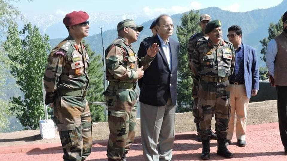 Defence minister Arun Jaitley with army commanders and troops at a forward post along the LoC in J-K.