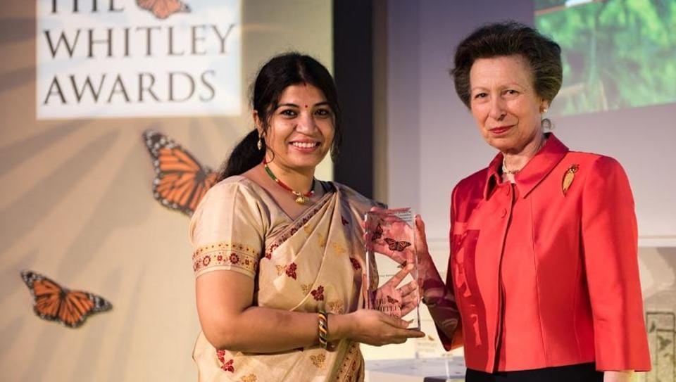 Wildlife activist Purnima Barman receives the Whitley Award from Princess Anne in London on Thursday evening.