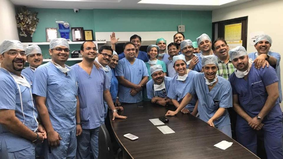 The medical team who performed India's first womb transplant at Pune's GCLI hospital pose for a photograph after conducting the procedure successfully on Thursday. The surgeons retrieved the uterus using a laparoscopic technique, which shortened the duration of the procedure, bringing it down from normal 12 hours to nine.