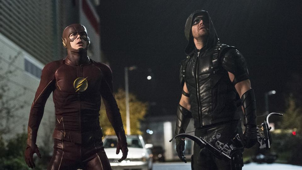 The Flash and Arrow from a crossover episode.