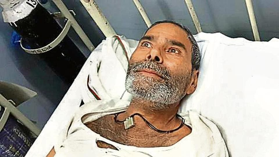 Badrilal Meena of Rajasthan who has 75 pins embedded in his body, is admitted at the Kota railway hospital.