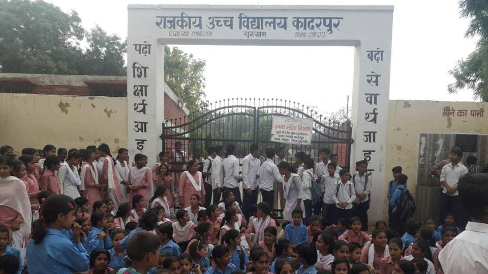 Around 8 am on Friday morning, over 250 students locked the gate and sat in front of the school demanding upgradation of their school from class X to XII.