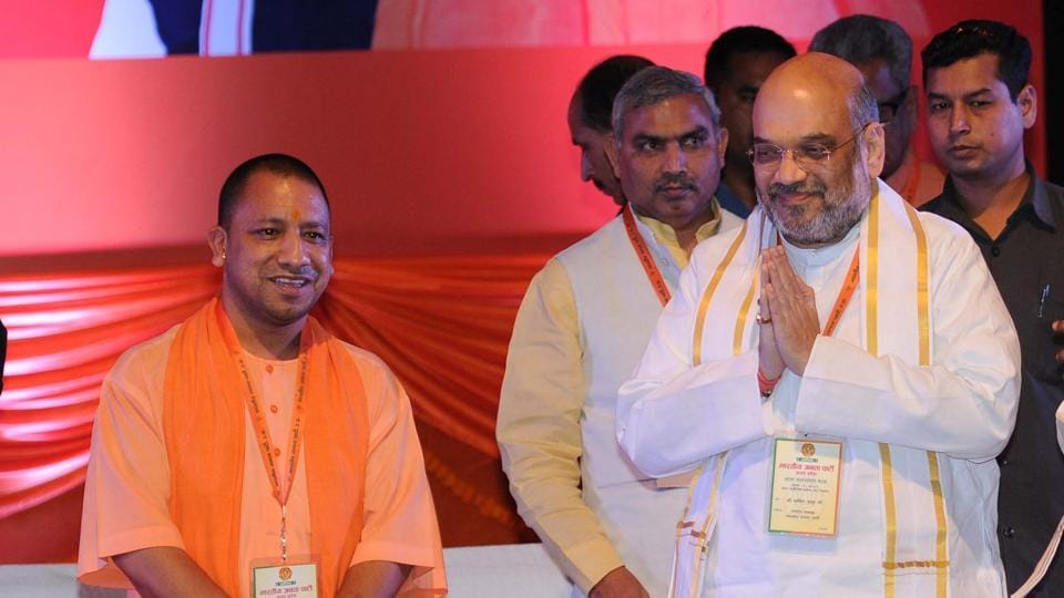 UP chief minister Yogi Adityanath with BJP national president Amit Shah. File Photo