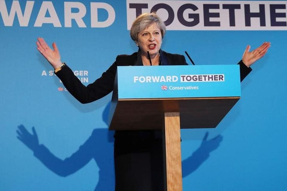 British Prime Minister Theresa May launching her election manifesto in Halifax on Thursday.