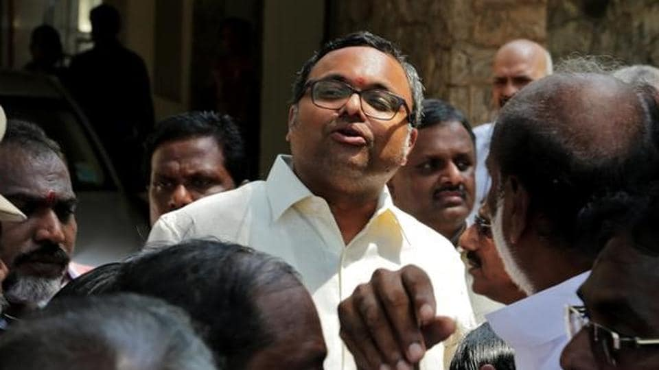 Karti Chidambaram, son of former Indian finance minister P Chidambaram, talks to media after CBI raided his house, in Chennai on May 16.
