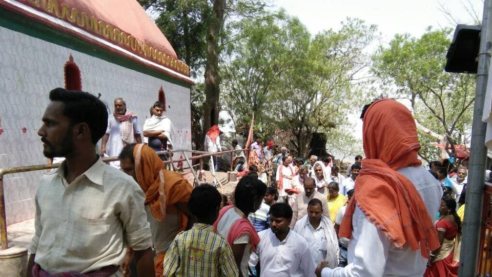 Devotees at Kauleshwari temple, one of the shrines that has been included in the Shakti circuit,  being pushed to rid the Gaya-Chatra border of the influence of Maoists.