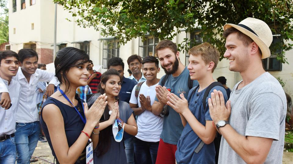 Students interact during a cultural exchange programme at Ramjas College on the first day of college in 2016.