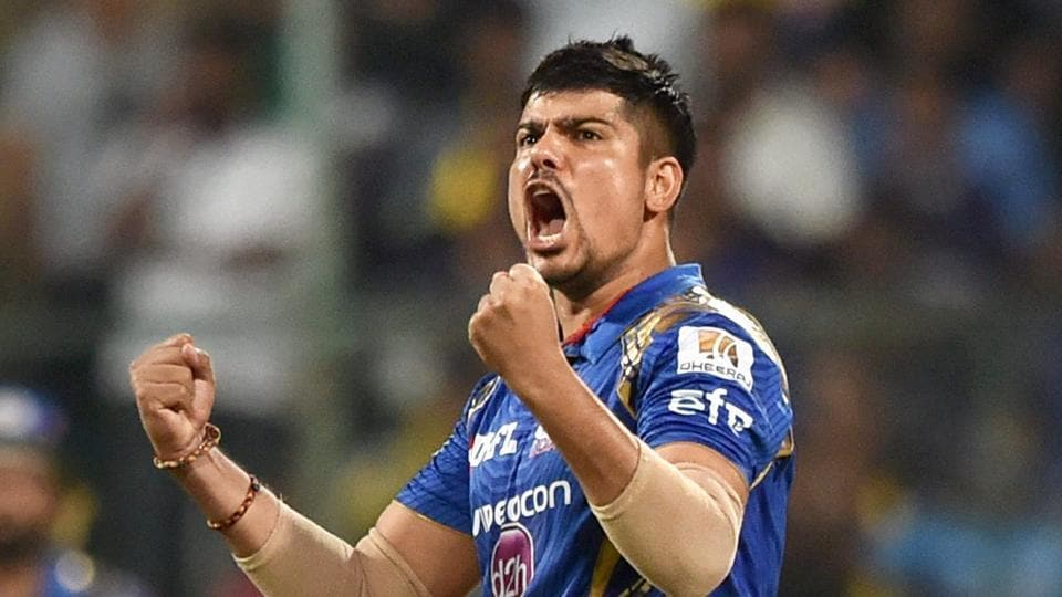 Karn Sharma of Mumbai Indians (MI) celebrates the wicket of Sunil Narine of Kolkata Knight Riders (KKR) during their Indian Premier League (IPL) qualifier 2 match at M Chinnaswamy Stadium in Bengaluru on Friday.