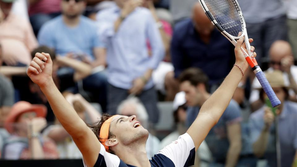 Dominic Thiem of Austria celebrates after beating Rafael Nadal of Spain at the Italian Open tennis tournament in Rome on  Friday.