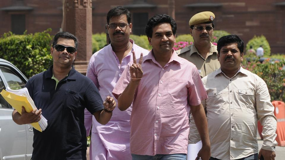 Sacked AAP leader Kapil Mishra arrives at Central Board of Direct Taxes (CBDT) at north block to file complaint against Delhi Chief Minister Arvind Kejriwal, in New Delhi on May 17.