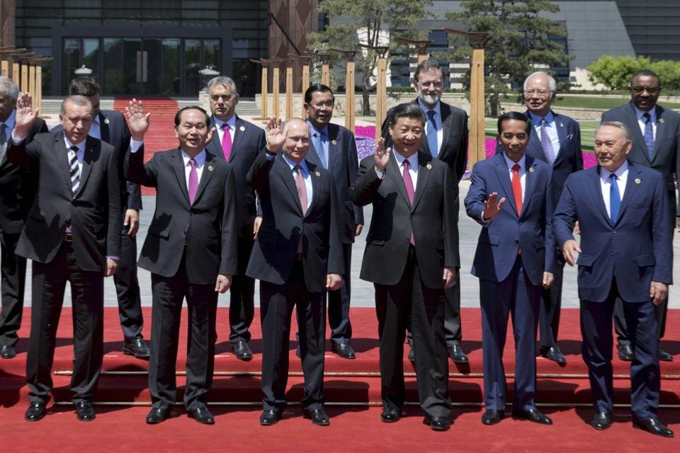Chinese President Xi Jinping with leaders attending the Belt and Road Forum at Yanqi Lake, on the outskirt of Beijing, on Monday.