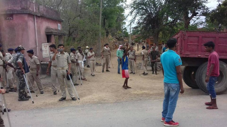 Police force deployed at Sobhapur village under Rajnagar police station after, killing three persons by locals, suspecting them as members of child stealing gang in Seraikela-Kharsawan