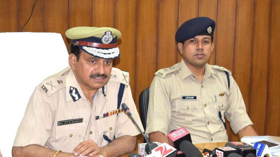 Haryana DGP BS Sandhu addressing a press conference in Sonepat on Thursday.