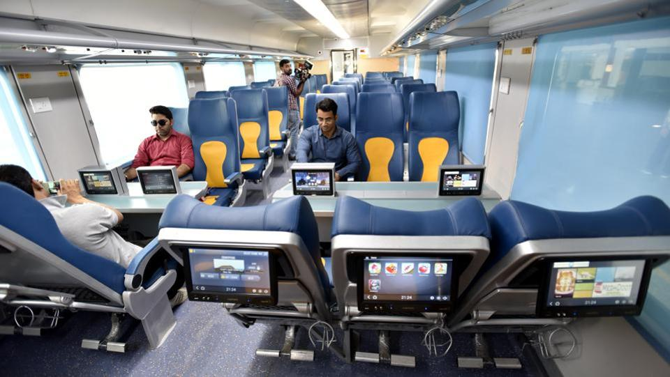 Equipped with LCD screens and plenty of legroom, Tejas is all set for plans to upgrade a number of trains including Shatabdi express on a few routes. (Arvind Yadav/HT PHOTO)