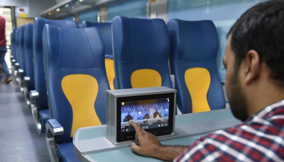 Indian Railways' upcoming Tejas Express trains are set to run on the Mumbai-Goa route. Capable of running at speeds upto 200 kilometres per hour, Tejas Express coaches will be equipped with a slew of on-board facilities including LCD screens, redesigned seats and CCTV cameras. (Arvind Yadav/HT PHOTO)