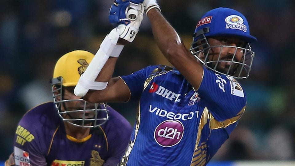 Mumbai Indians batsman Krunal Pandya plays a shot against Kolkata Knight Riders in their IPL 2017 Qualifier 2 encounter. Get highlights of Mumbai Indians vs Kolkata Knight Riders here.