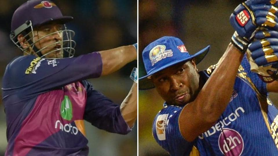 Both MS Dhoni (L) and Kieron Pollard have had a patchy run in IPL 2017, but the final offers both a chance to step up and play a defining role. (ht photo)