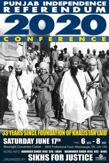 A poster for the Punjab Independence Referendum 2020 Conference organised by the hardline activist group Sikhs for Justice, or SFJ, on June 17.