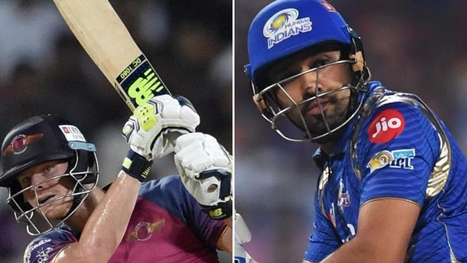 The Mumbai Indians skipper Rohit Sharma has had a modest IPL with 309 runs at an average of 23.76 while Steve Smith (L) has 421 runs at an average of close to 40.  (HT Photo)