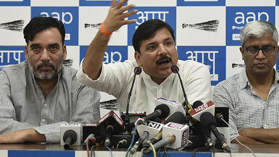 Aam Admi Party Leader Sanjay Singh, Gopal Rai along with Ashutosh during the press conference in New Delhi, May 20, 2017.