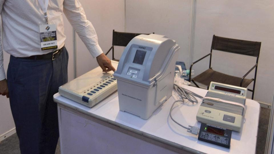 The venue of the all-party meeting convention called by the Election Commission to discuss the reliability of the EVMs, in New Delhi.