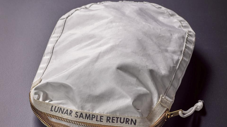 An Apollo 11 Contingency Lunar Sample Return Bag, used by astronaut Neil Armstrong on Apollo 11 to bring back the very first pieces of the moon ever collected, is seen in an undated photo supplied by Sotheby's auction house in New York May 19.