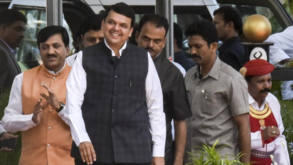 Chief minister Devendra Fadnavis arrives on the first day of the three-day special session of Maharashtra Assembly in Mumbai for passing the goods and services tax bill. (Kunal Patil/HT Photo)