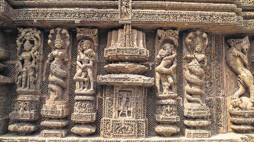 Mid-13th century carvings on the facade of the Sun temple at Konark, Odisha. The Sun and Two Seas is set in the same era.
