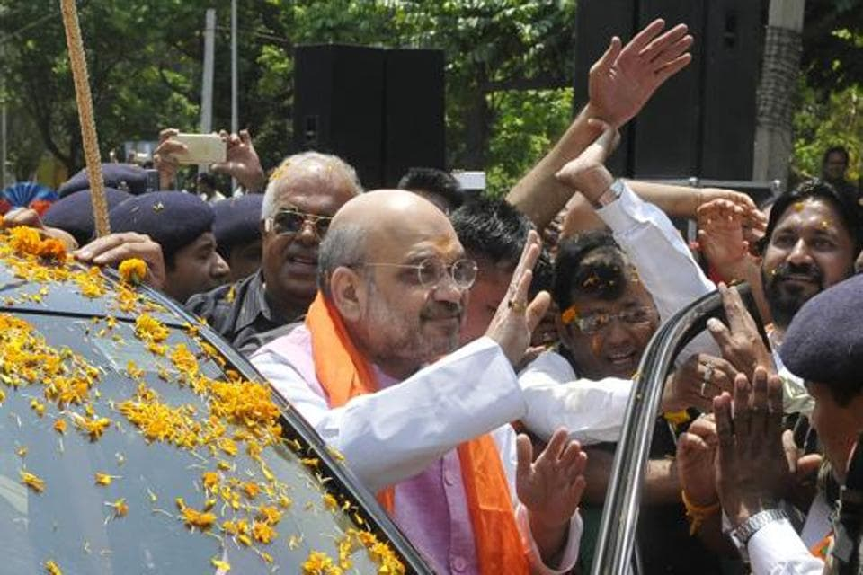 BJP chief Amit Shah during a road show in Chandigarh on Saturday.