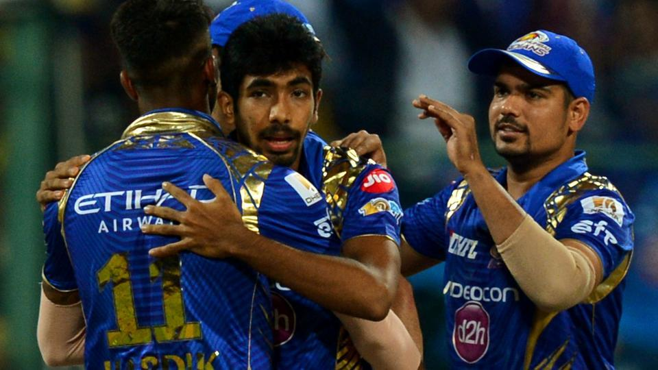 Mumbai Indians players celebrate after their win over Kolkata Knight Riders in the IPL 2017 Qualifier 2 match.