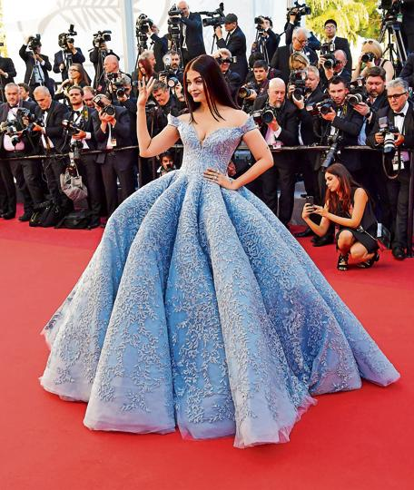 Aishwarya Rai Bachchan in a Michael Cinco gown at the Cannes red carpet.