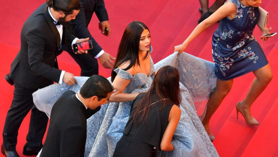Aishwarya Rai Bachchan arrives on May 19, 2017 for the screening of the film Okja at the Cannes Film Festival.