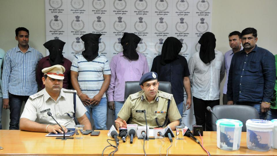 Commissioner of Police Sandeep Khirwar (right) and DCP, Crime, Sumit Kuhar addresses a press conference after arresting the gang on Friday.