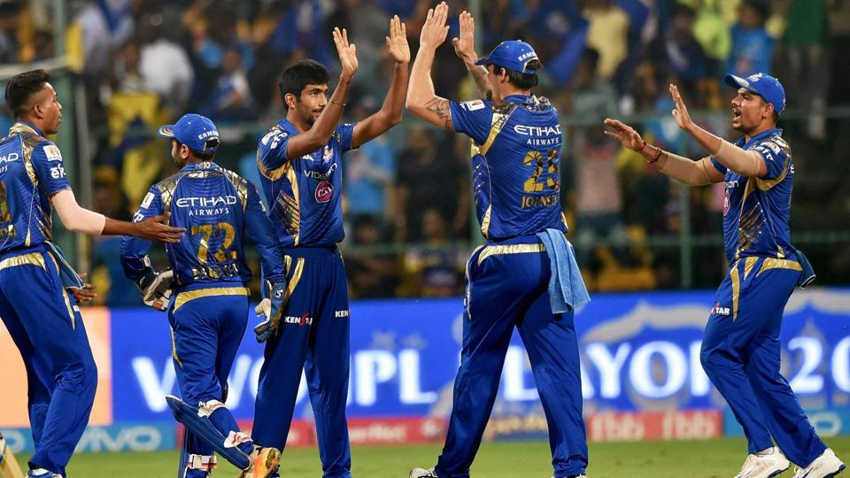 Mumbai Indians bowler Jasprit Bumrah celebrates the wicket of Chris Lynn. (PTI)