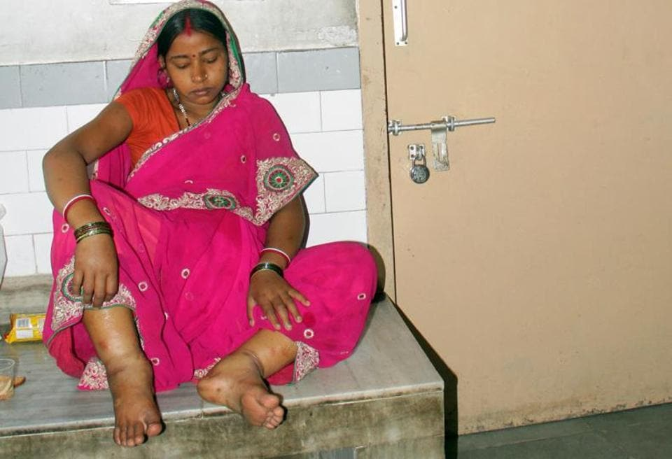 An anaemic patient — showing the symptom of swollen feet — at a hospital in Ludhiana.