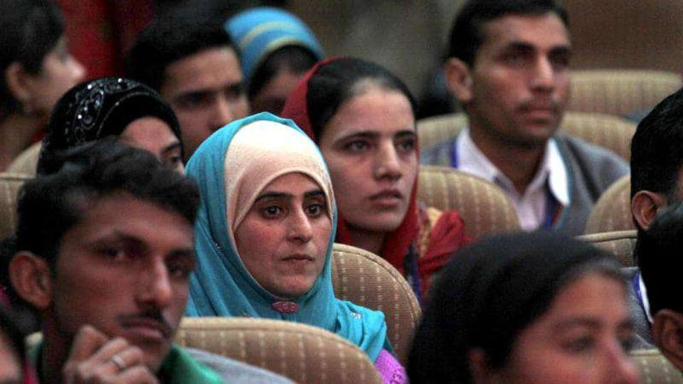 Students at a function held for distributing appointment letters under a project launched to provide skill development training to the unemployed youth of Jammu and Kashmir.