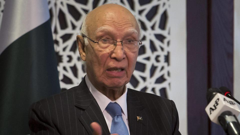 Pakistan's adviser on foreign affairs Sartaj Aziz speaks during a press conference in Islamabad.