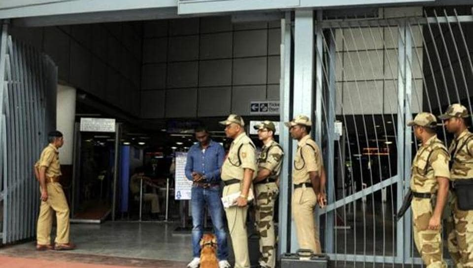 CISF jawans carry out an inspection. Several personnel have been caught helping smuggling rings bring in gold and drugs to the country.