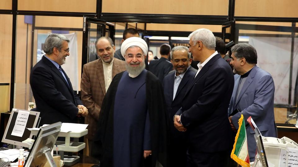 Iran's President Hassan Rouhani visits the election office in Tehran, Iran, May 19, 2017. Picture taken May 19, 2017.
