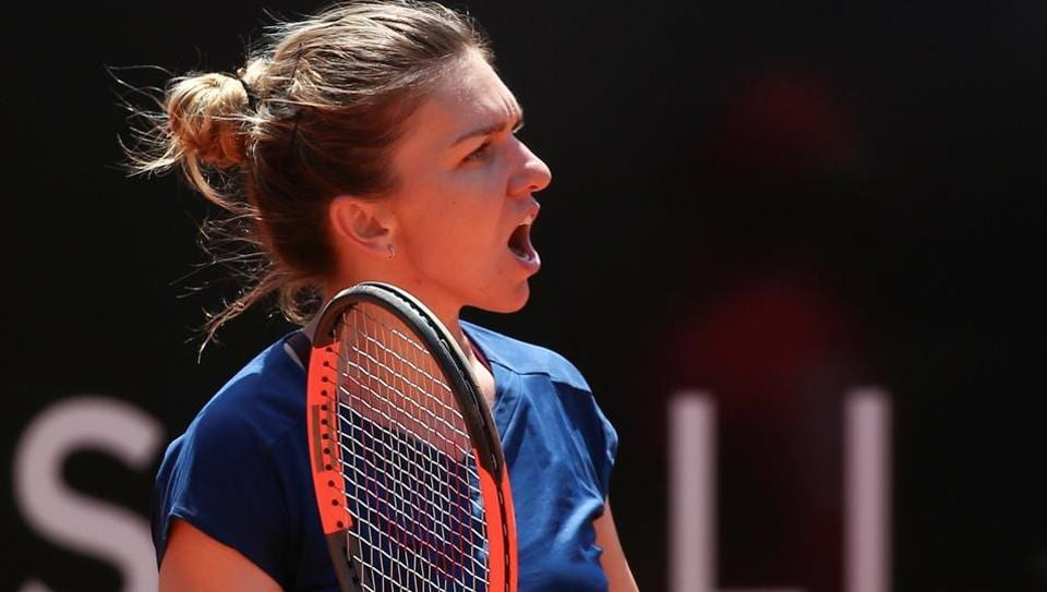 Simona Halep reacts after her victory over Anett Kontaveit at the Rome Masters.