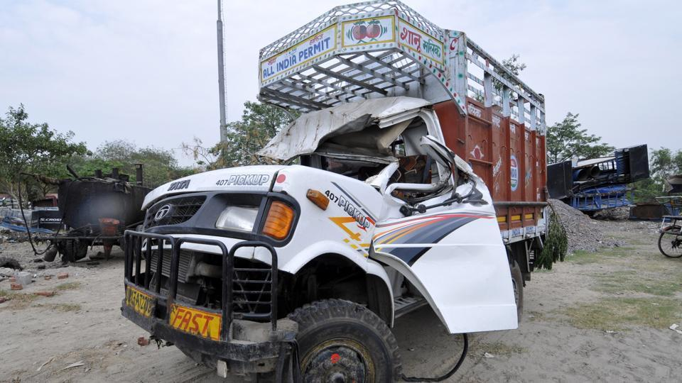 Two men died and two others were injured after the mini truck in which they were travelling in collided with a tree in Noida on Saturday.