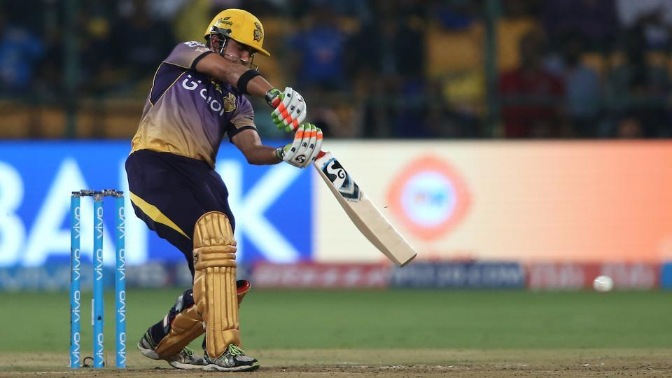 Kolkata Knight Riders captain Gautam Gambhir drives a delivery against Mumbai Indians. (BCCI)