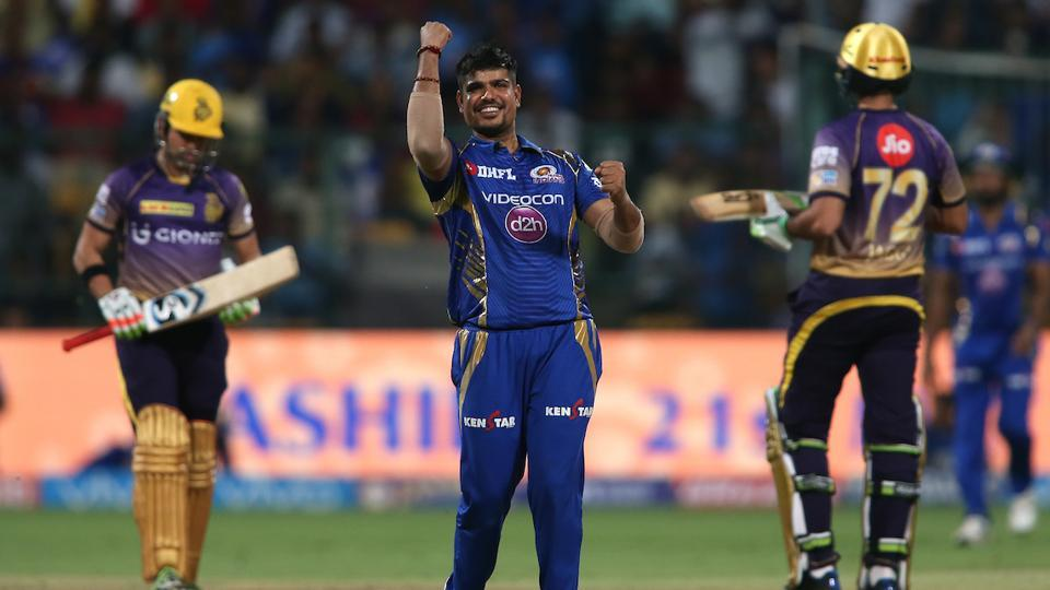 Mumbai Indians rode on KarnSharma's four wicket-haul to defeat Kolkata Knight Riders by six wickets in the second qualifier of IPL 2017 at the M Chinnaswamy Stadium. MI will face RPS in the final in Hyderabad on Sunday.