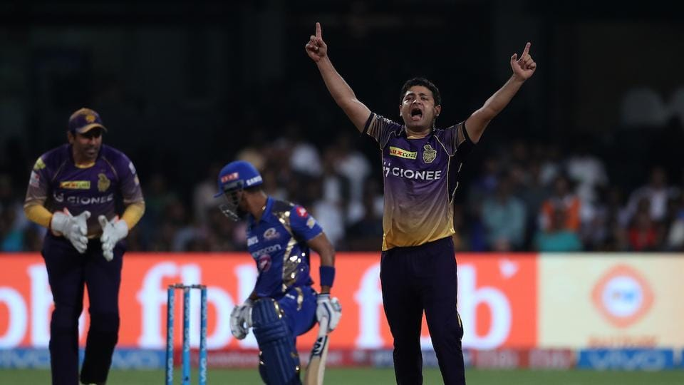 Piyush Chawla of Kolkata Knight Riders celebrates the wicket of Lendl Simmons of  Mumbai Indians. (BCCI)