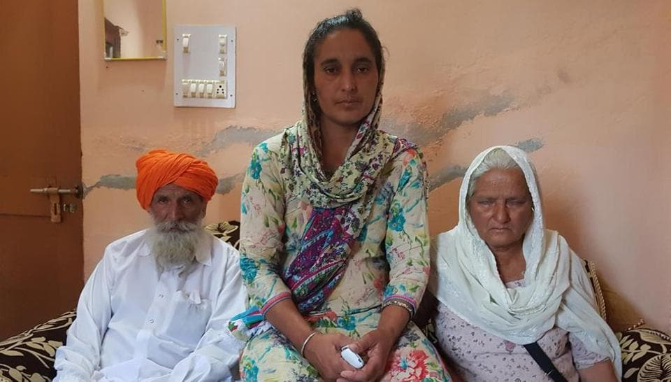 Paramjit Kaur, wife of slain Naib Subedar Paramjit Singh flanked by the martyr's parents. The valiant traditions of rural Punjab continue to motivate young men to contribute to the country's defence.