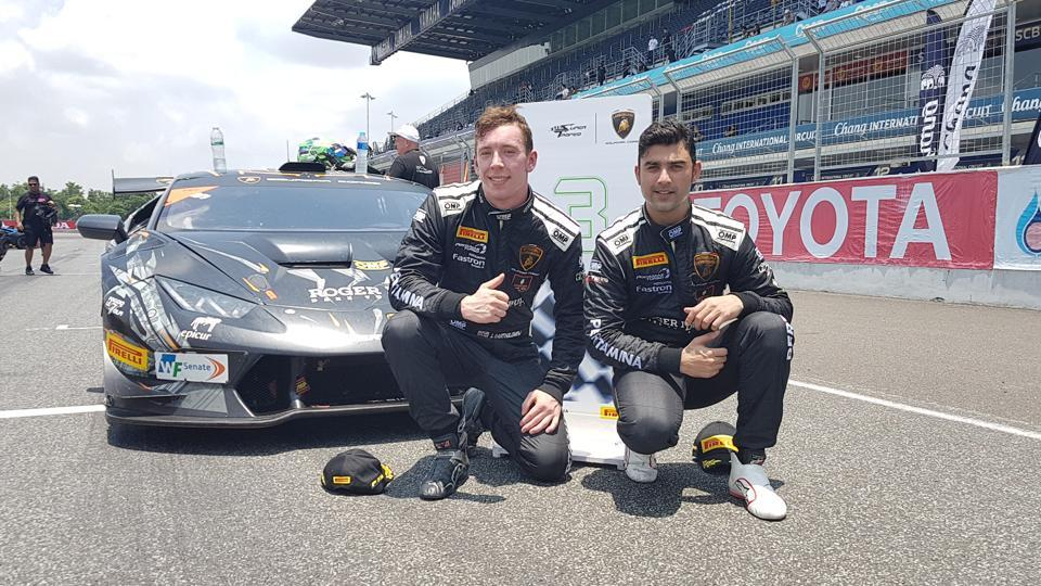 ArmaanEbrahim (right) and Jack Bartholomew after their podium in the Super Trofeo Asia Series at Chang International Circuit,in Buriram,Thailand, on Sunday.