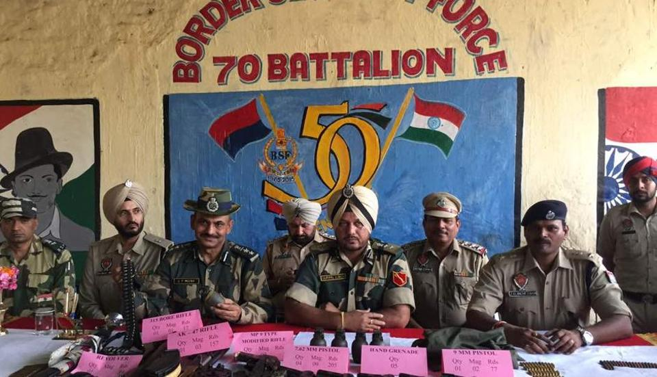 On interrogation, the BSF and police recovered four pistols (7.62mm) with nine magazines, one 9mm pistol with two magazines, an AK-47 assault rifle with three magazines, a modified rifle with two magazines, five hand grenades and over 450 rounds of ammunition of different calibre buried close to the Indo-Pak border.